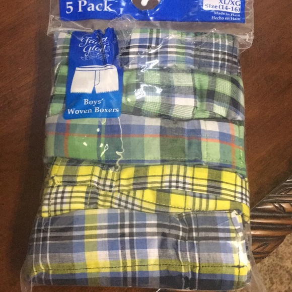 New Faded Glory Boys Woven Boxers 5 Pack Plaid Size M 8 Underwear Shorts